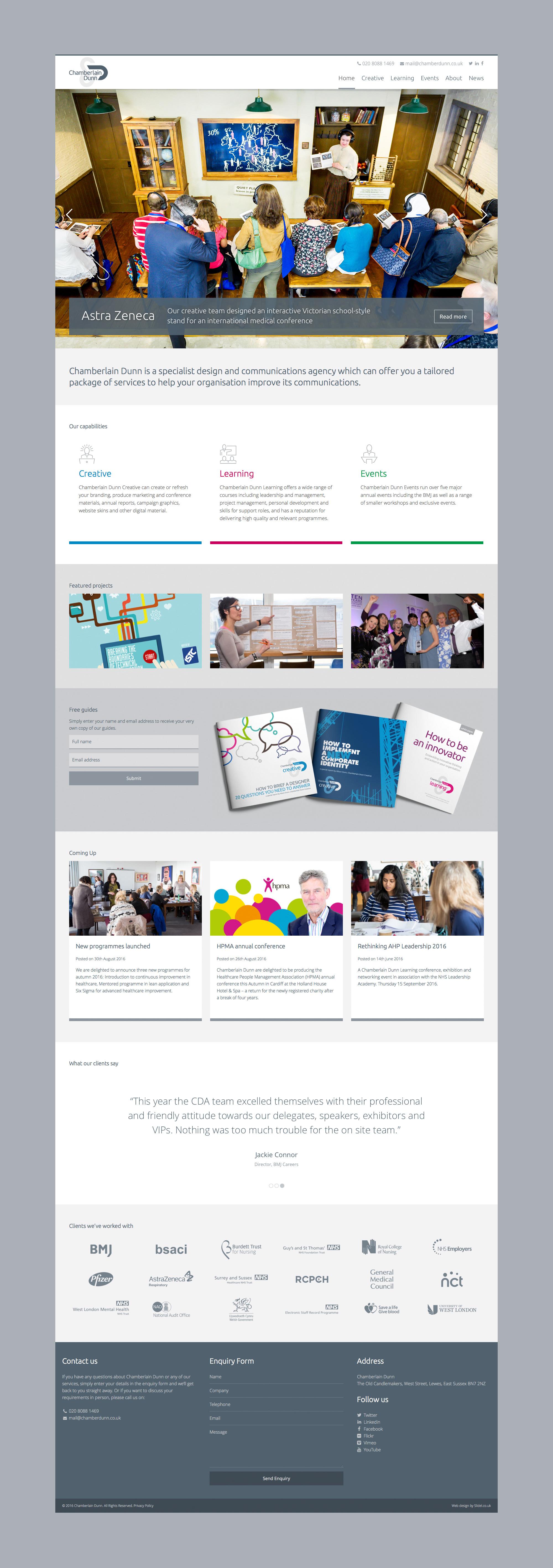 Web Design Layout Chamberlain Dunn